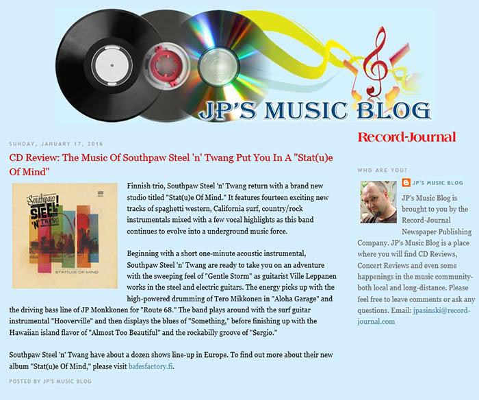 JP's Music Blog (Connecticut, USA), 17.1.2016