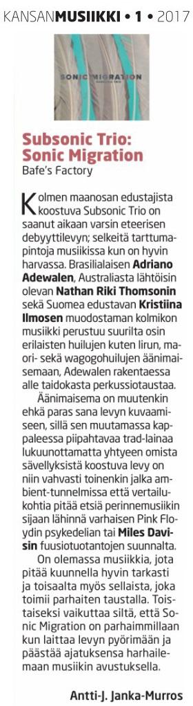 Kansanmusiikki (Finland), 1/2017