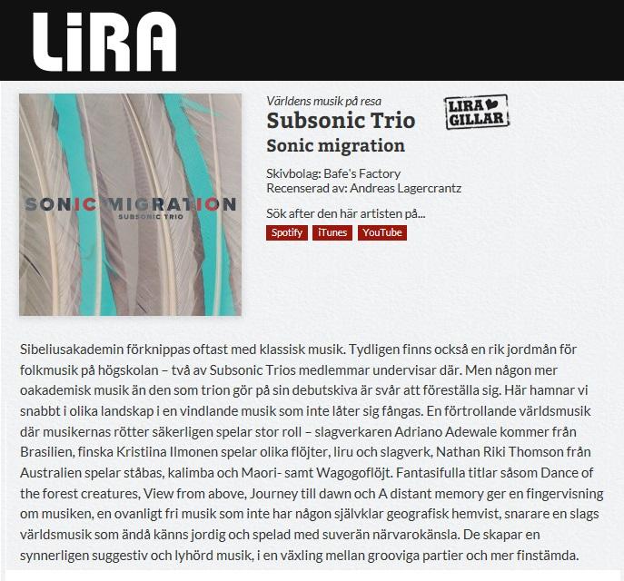 Lira Musikmagasin (Sweden), 2017