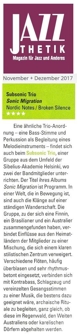 Jazzthetik (Germany), 09/10-2017