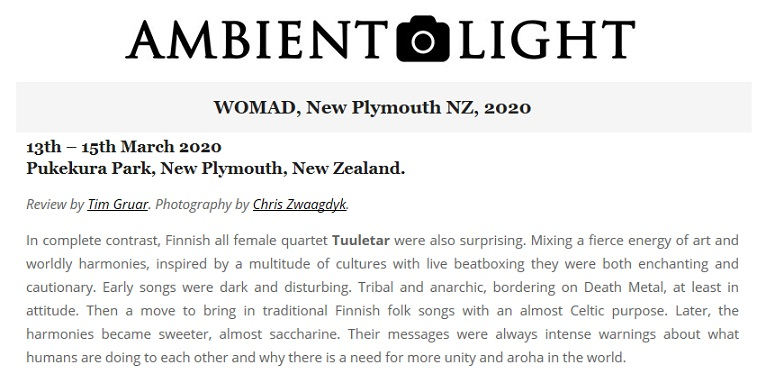 Ambient Light (New Zealand), 17.3.2020