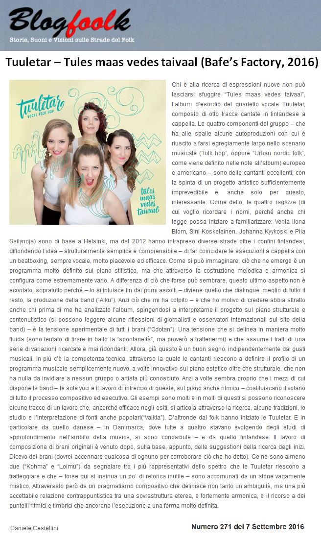 Blogfoolk, Numero 217 (Italy), 7.9.2016