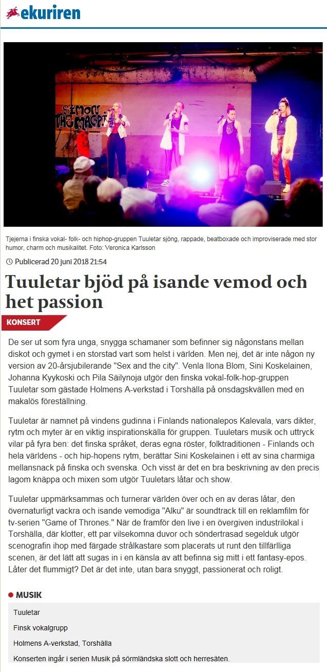 Eskilstuna-Kuriren (Sweden), 20.6.2018