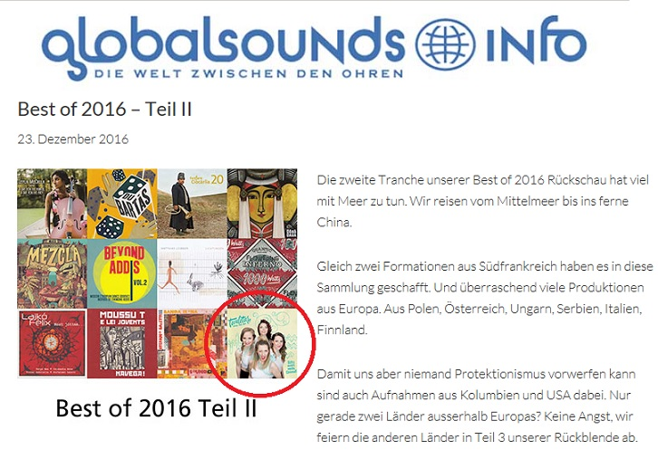 Globalsounds, Best of 2016 – Teil II (Switzerland), 23.12.2016