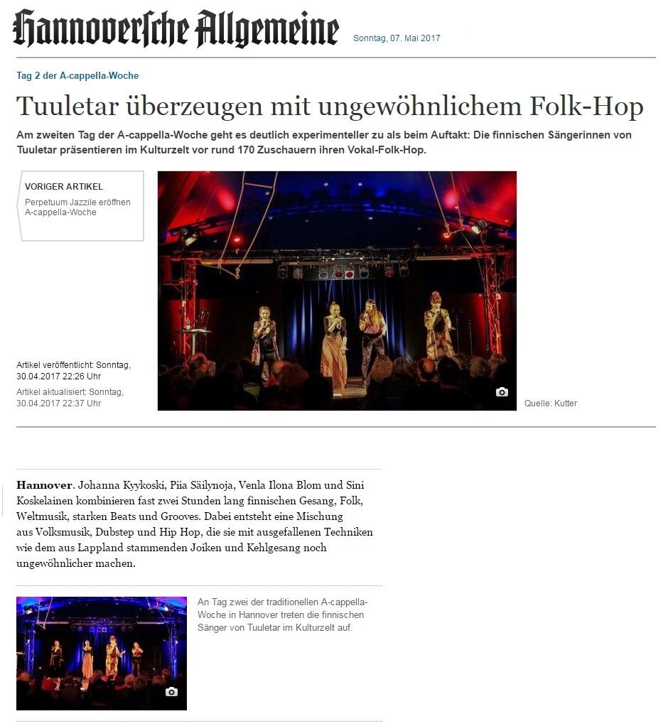 Hannoversche Allgemeine (Germany), 30.4.2017