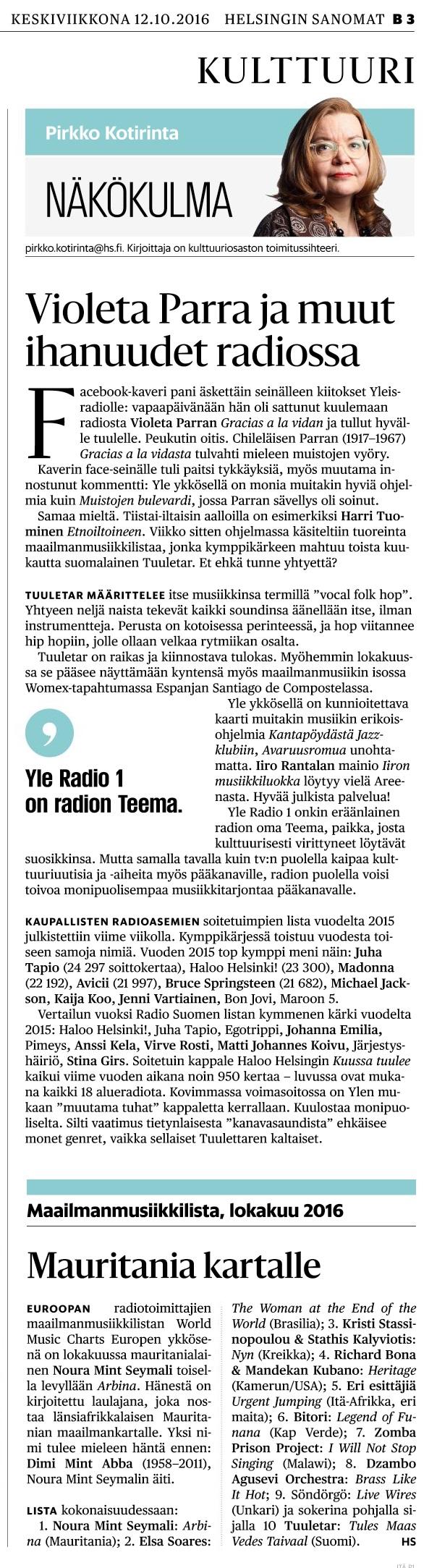 Helsingin Sanomat, 12.10.2016