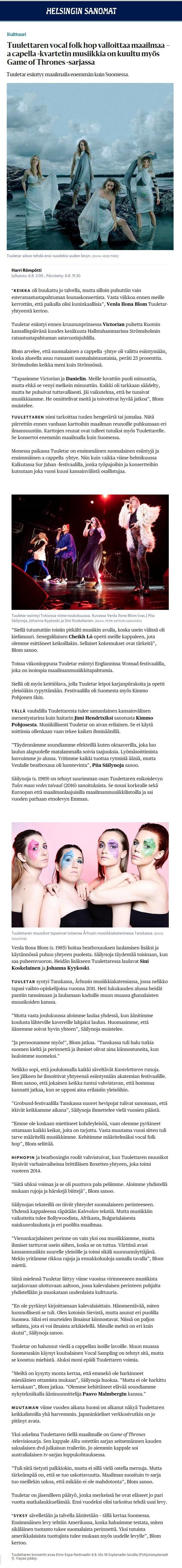Helsingin Sanomat, 6.8.2018