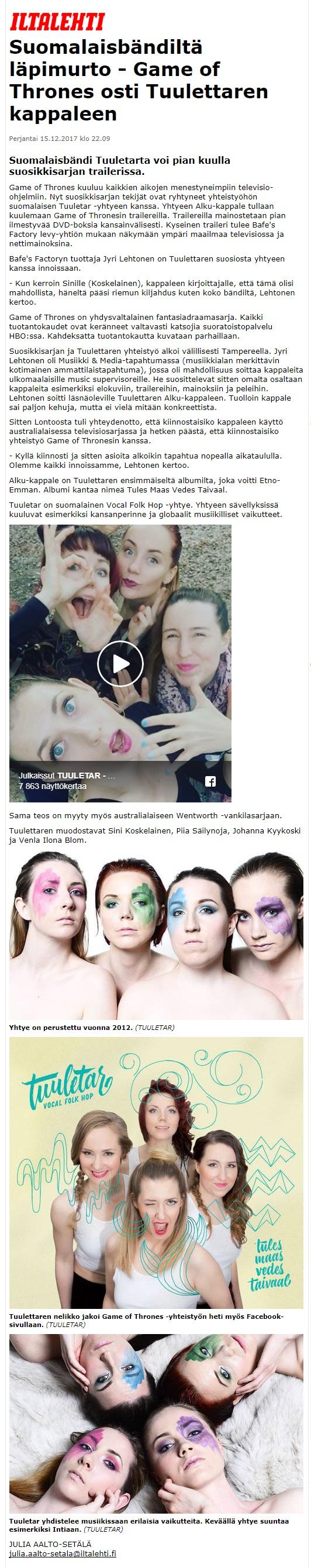 Iltalehti, 15.12.2017