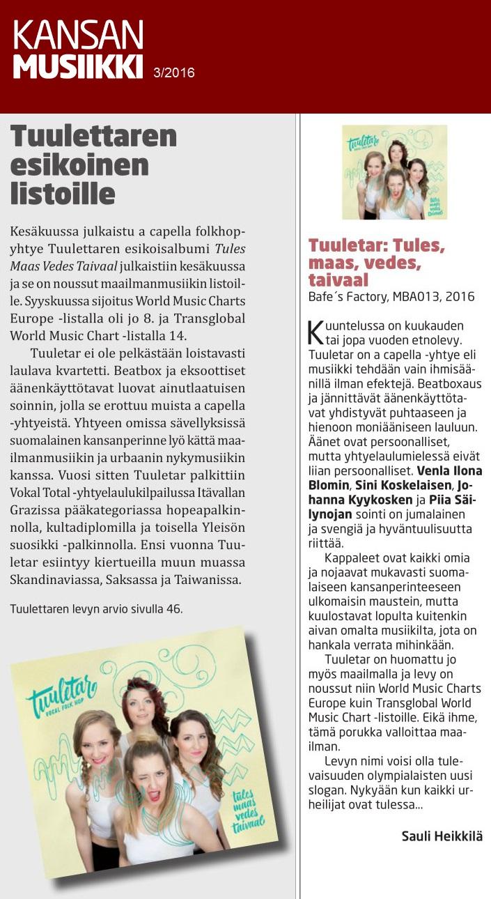 Kansanmusiikki, 3/2016