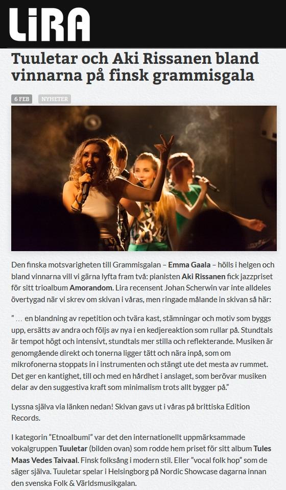 Lira Musikmagasin (Sweden), 6.2.2017