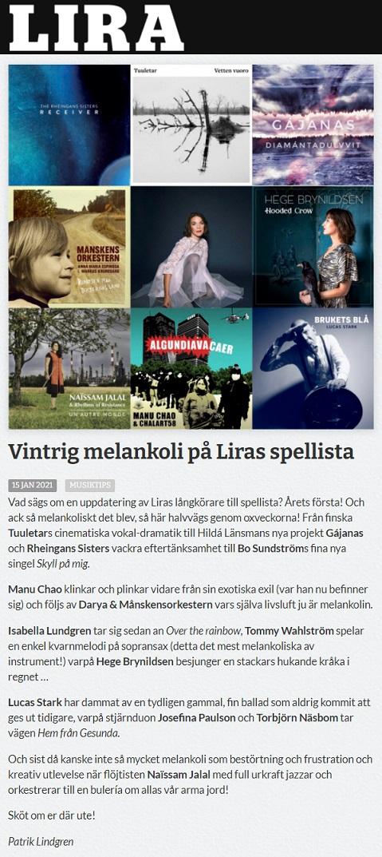 Lira Musikmagasin (Sweden), 15.1.2021