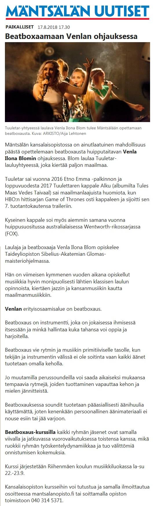 Mäntsälän Uutiset, 17.8.2018