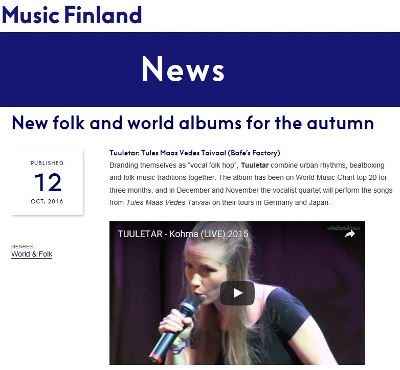 Music Finland, New folk and world albums for the autumn (Finland), 12.10.2016