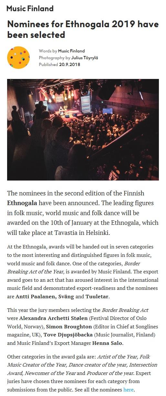 Music Finland, 20.9.2018
