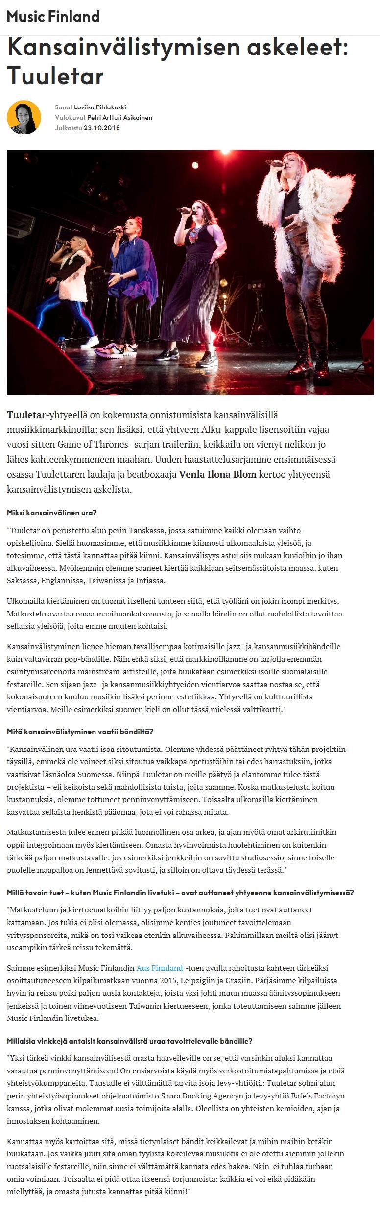 Music Finland, 23.10.2018