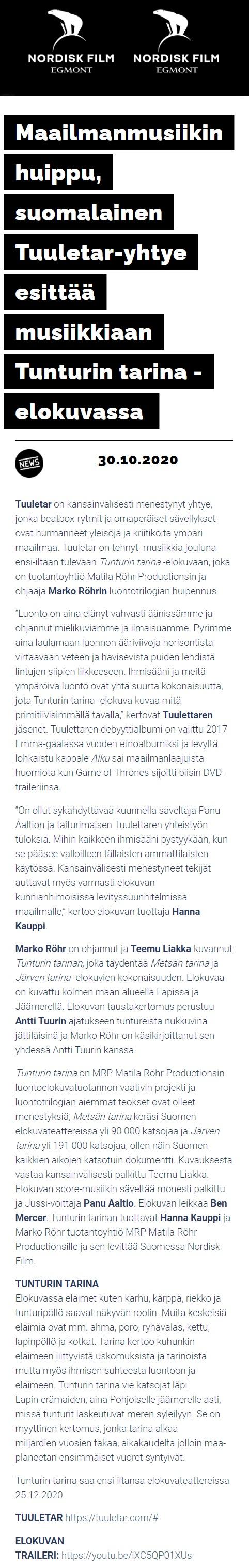 Nordisk Film (Finland), 30.10.2020