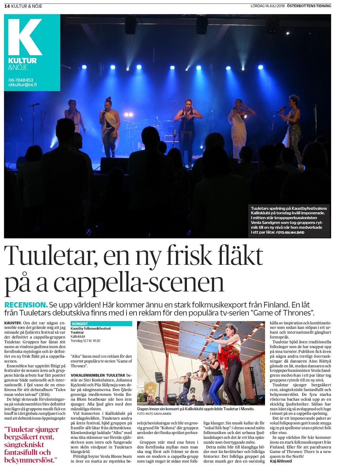 Österbottens Tidning, 14.7.2018