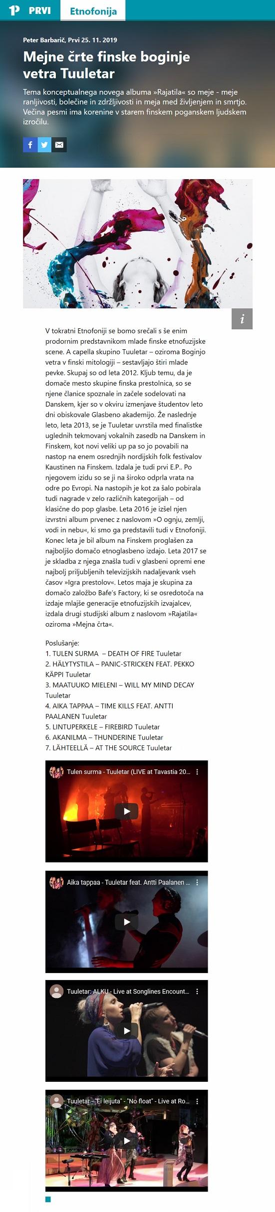 Radio PRVI, Mejne črte finske boginje vetra Tuuletar (Slovenia), 25.11.2019