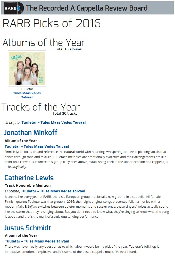 The Recorded A Cappella Review Board, Picks of the Year 2016 (USA), 1/2017
