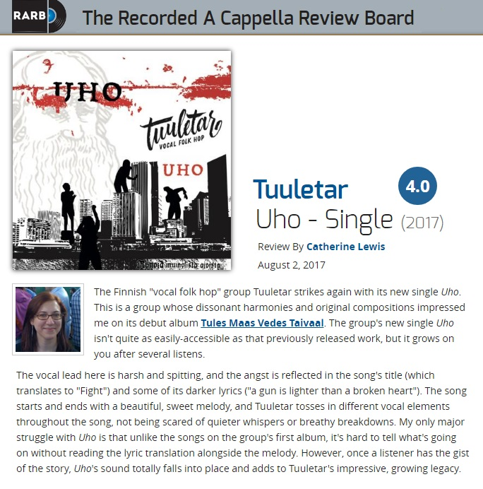 The Recorded A Cappella Review Board (USA), 2.8.2017