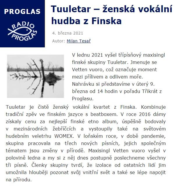 Radio Proglas, Tuuletar – ženská vokální hudba z Finska (Czech Republic), 4.3.2021