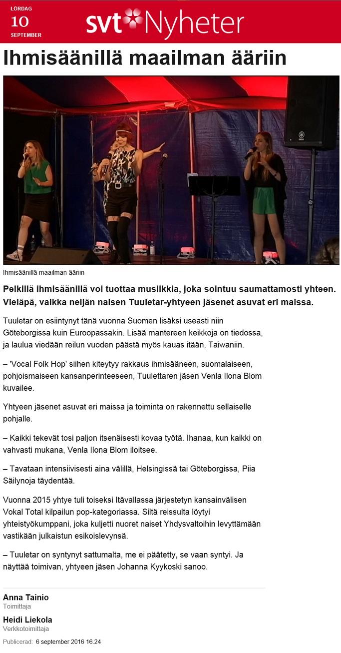 Sveriges Television, svt Nyheter (Sweden), 6.9.2016