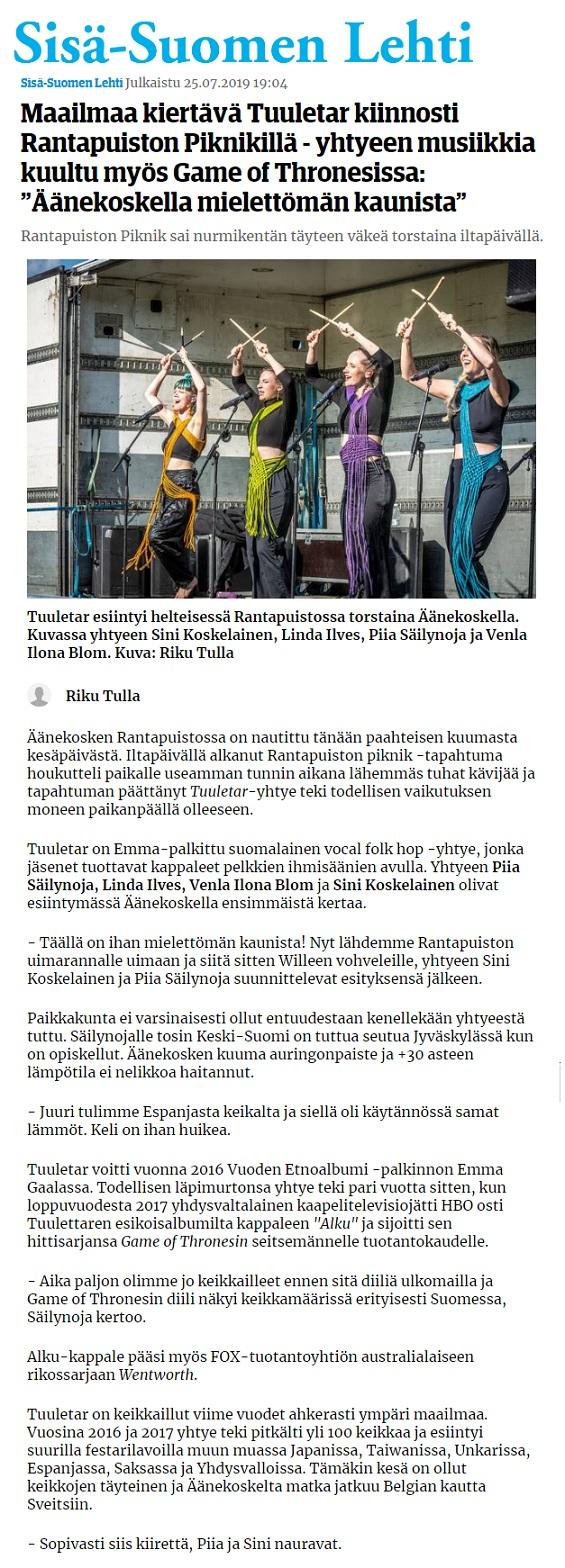 Sisä-Suomen Lehti (Finland), 25.7.2019