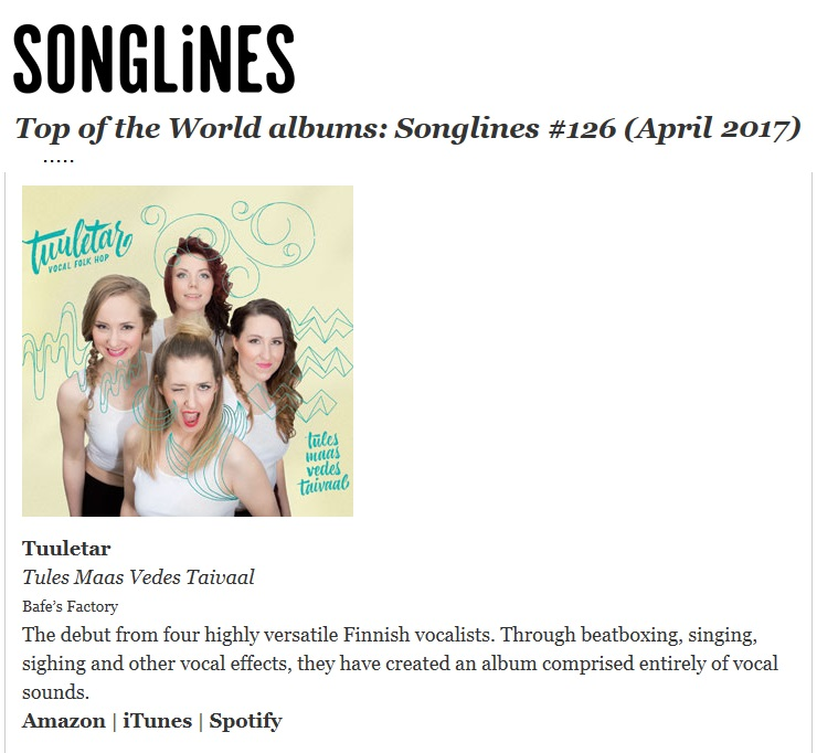 Songlines, Top of the World albums (UK), April 2017