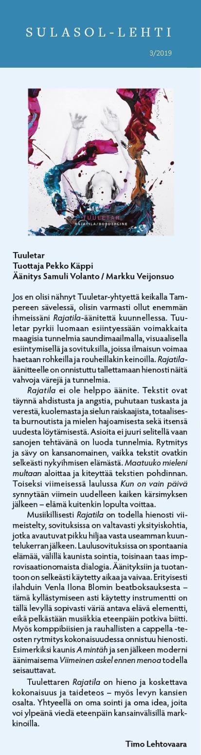 Sulasol (Finland), 3/2019