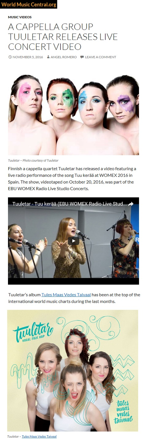 World Music Central (USA), 5.11.2016