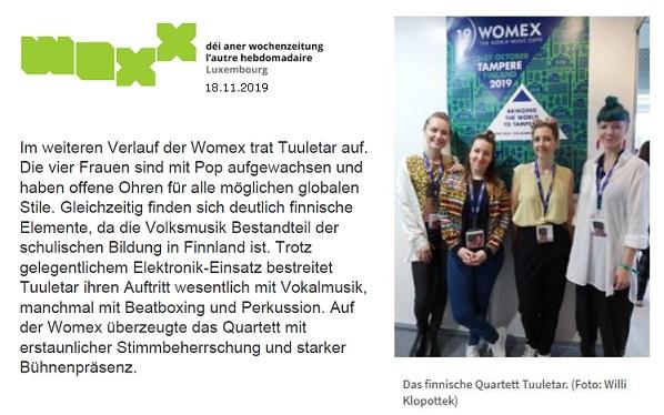 WOXX, Womex: Finnischer Wagemut und mehr (Luxemburg), 18.11.2019