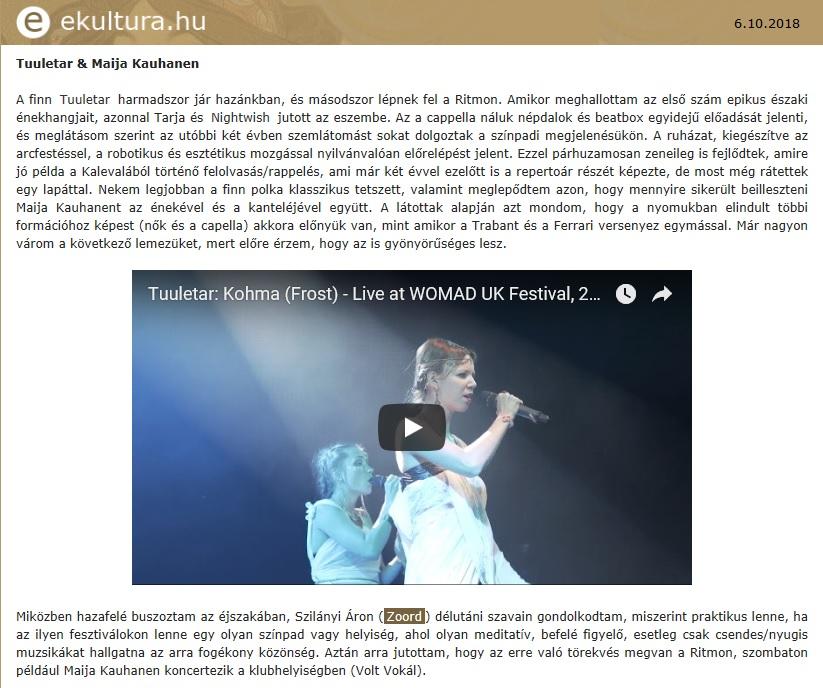 ekultura.hu, (Hungary) 6.10.2018
