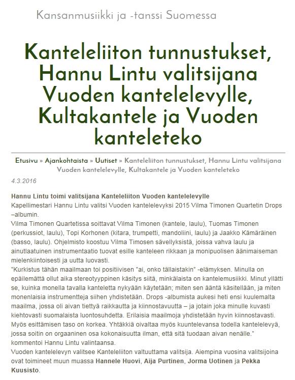 Kansanmusiikki, 4.3.2016